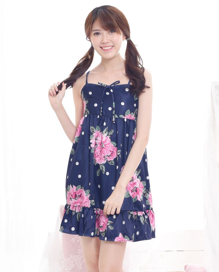$16. Shop cute woman floral babydoll dress in dark blue color. Perfect for Spring and Summer. Jual dress babydoll floral lucu dengan tali spaghetti. #kawaii #japanese #asian #fashion #style