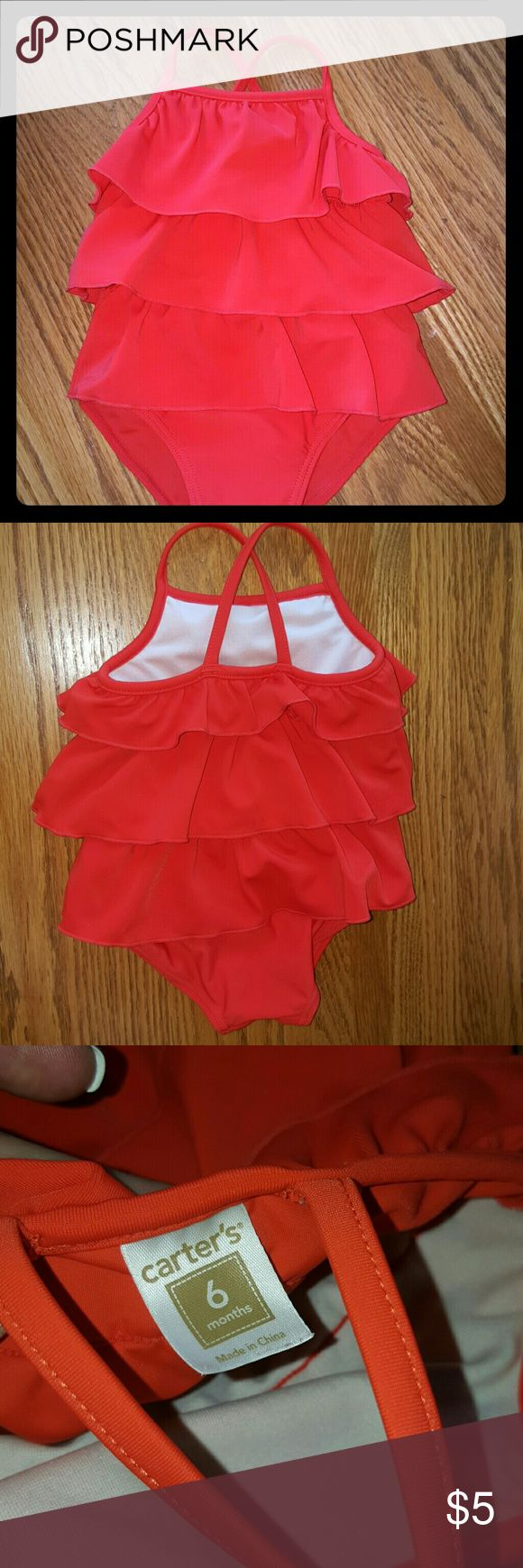 """RED ONE PIECE SWIMSUIT """"BABY"""" Little red ruffles  ❤ One piece  ~ Cross Cross back ~ NO RIPS. NO TEARS,  wore one time, before she outgrew it. CLEAN NO SMOKING HOME. Carter's Swim One Piece"""