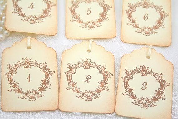 vintage wedding table numbers / favor tags