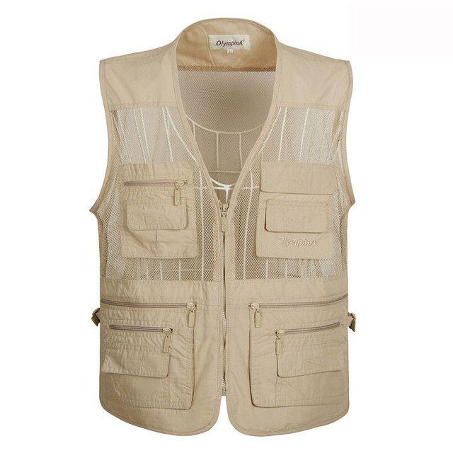 Men's Mesh Summer Vest Casual Solid Waistcoat Five Colors With Many Pockets Vest Men Regular Plus Large Size Photographer Vest