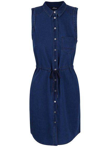 Tmavě modré džínové propínací šaty košilového typu s.Oliver