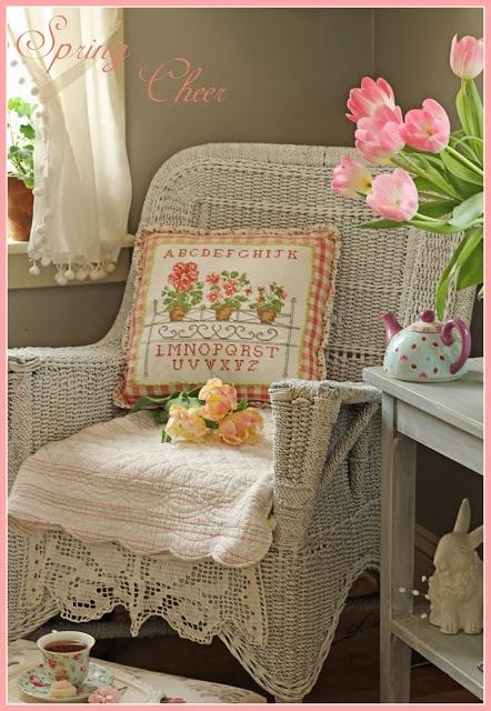 Lovely white wicker chair!  Aiken House & Gardens