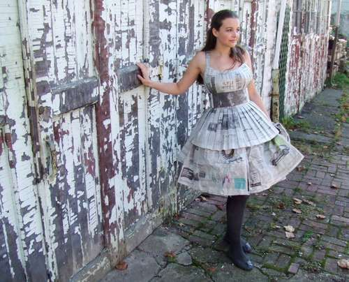to make a dress out of newspaper using a sewing machine