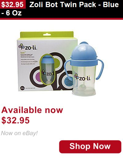 Baby Sippy Cups And Mugs: Zoli Bot Twin Pack - Blue - 6 Oz BUY IT NOW ONLY: $32.95