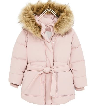 DOWN JACKET WITH BELT AND FAUX FUR TRIM-View all-COATS-GIRL   5 - 14 years-KIDS   ZARA United States