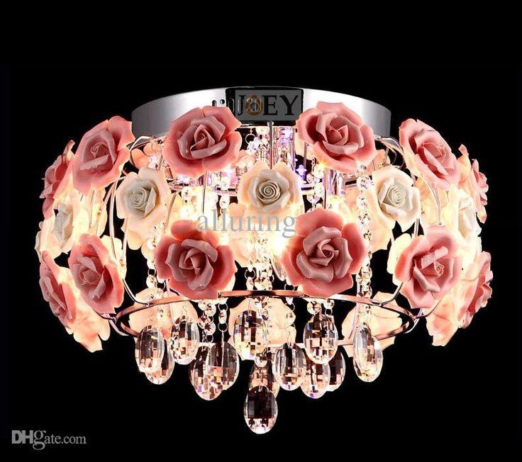 Moderner Kristallleuchter Rose Blume Küchenleuchten Luxury Hotel Zimmer Foyer Beleuchtung Mit E14 Led Lampe