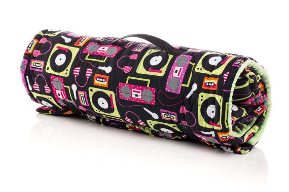 Vinyl Music Themed Girl Nap Mat / Sleeping Mat. Preschool mat, kindergarten mat, day care mat, sleeping bag. With full size minky blanket and built in pillow. Machine Washable. USA Made by Elonka Nichole