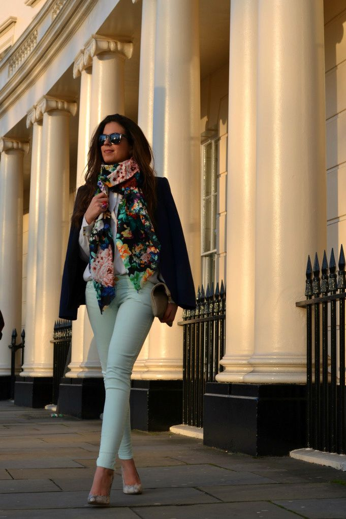 mint pants with floral scarf ...:)