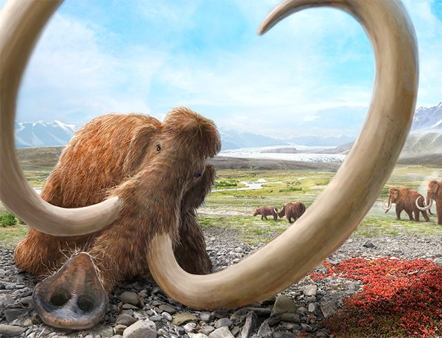 Dying mammoth in a glacial lake valley of Ice Age Lucerne in Switzerland by Joe Rohrer