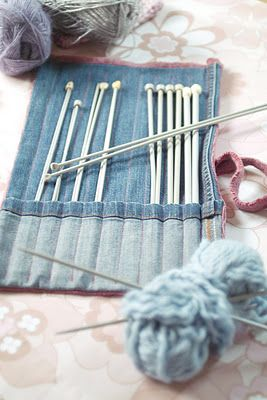 For this project you will need:        * offcuts of denim from when you cut your jeans into shorts – preferably with a turn-up hem      * the arm from an old jumper (sweater) – preferably slightly shrunk from the wash      * thread, scissors, measuring tape, ruler      * set of knitting needles (I used 9 pairs for my set)