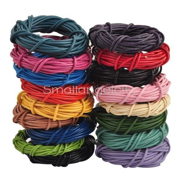 3M/5M Round Real Leather  Rope String Cord String Lace Thong, 1mm to 3mm   Crafts, Jewellery Making, Findings   eBay!