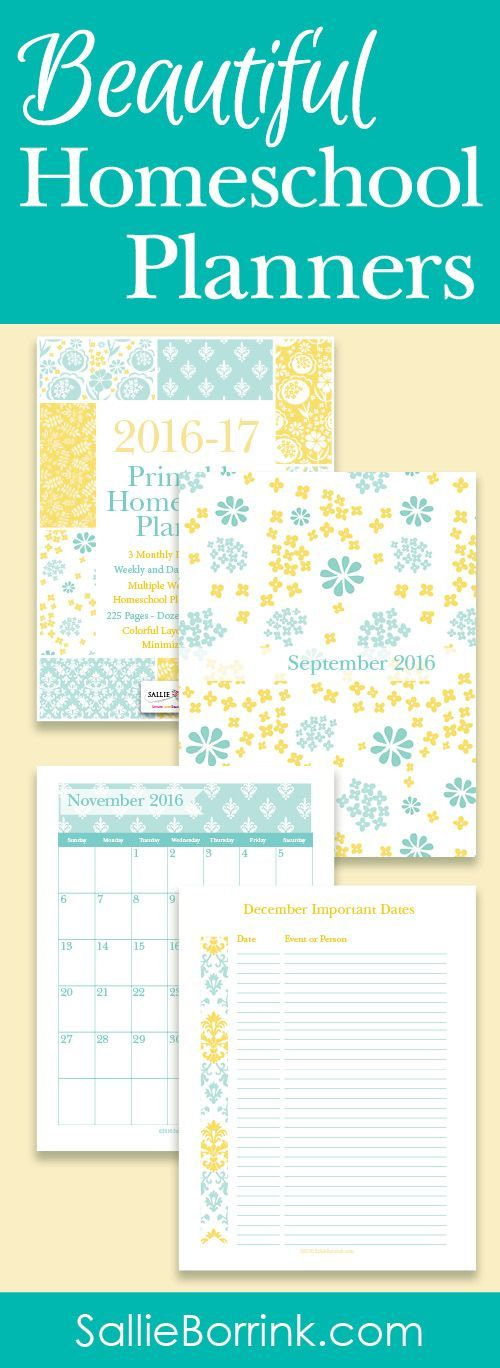 Enjoy a bright 2016-2017 homeschool year with this versatile Aqua and Yellow Printable Homeschool Planner. Designed to offer options and variety, it contains 225 pages of colorful fun from July 2016 through June 2017. You will find dozens of printable calendars, forms, planning pages and more! This printable homeschool planner will make homeschooling easier, homeschool planning more organized and help keep your homeschool year moving along!