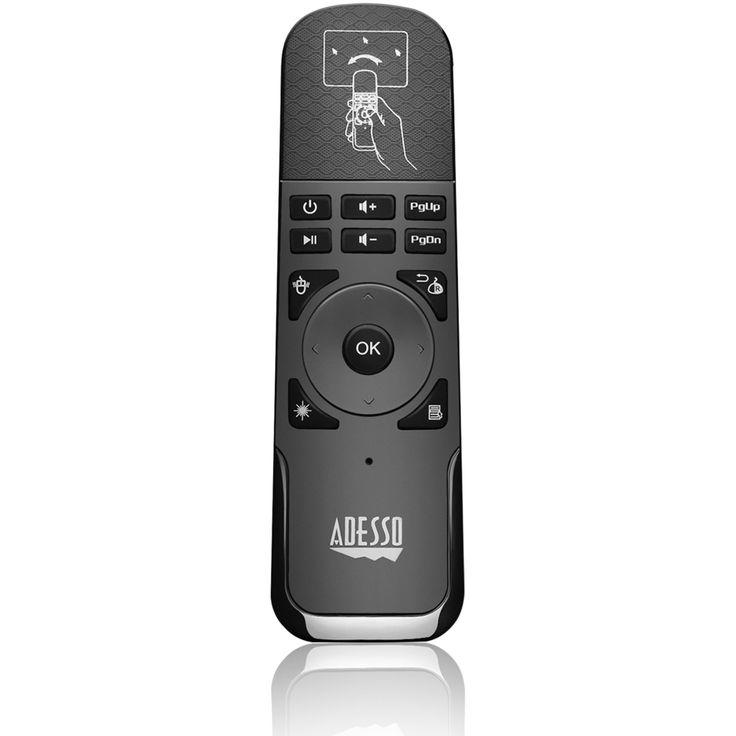Adesso SlimTouch WKB-4010UB Universal Remote Control - For PC, Smart TV, Gaming Console, Projector, PlayStation, Xbox - 30 ft Wireless