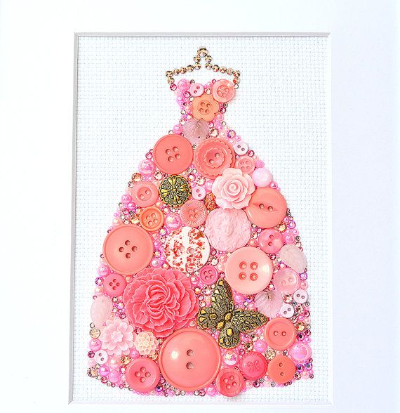 Button Art Pink Gown Vintage Button by PaintedWithButtons
