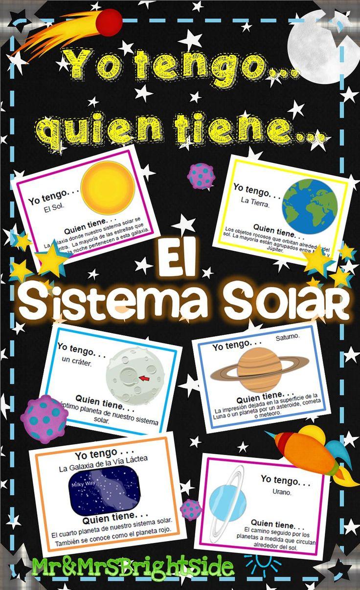 Yo tengo, quien tiene... El sistema solar - juego sobre los planetas y el sistema solar. This is a 20 slide printable game/activity of our solar system in spanish.