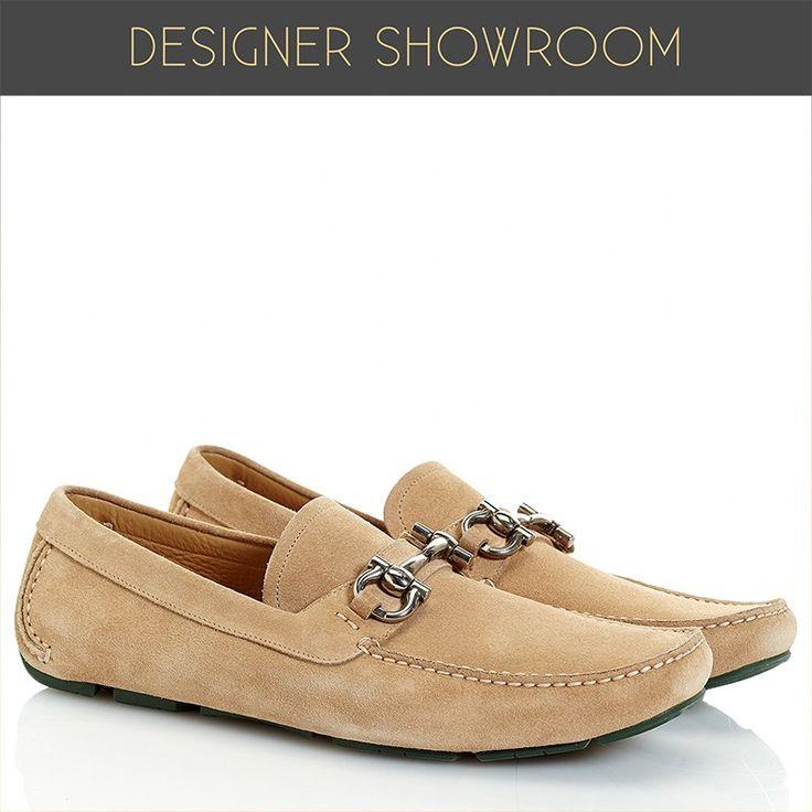 Camel Suede Driving Shoes - Men