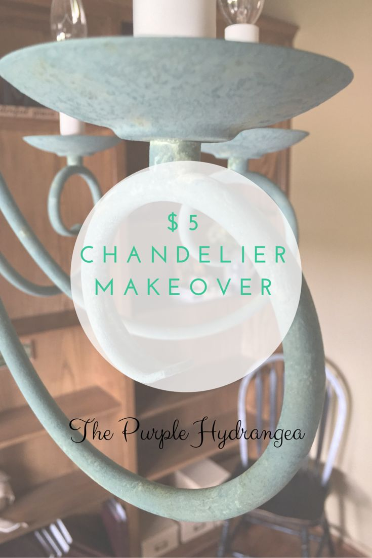 My $5 chandelier makeover is complete with a brand new faux finish using Miss Mustard Seed's Milk paint. details at www.thepurplehydrangea.net