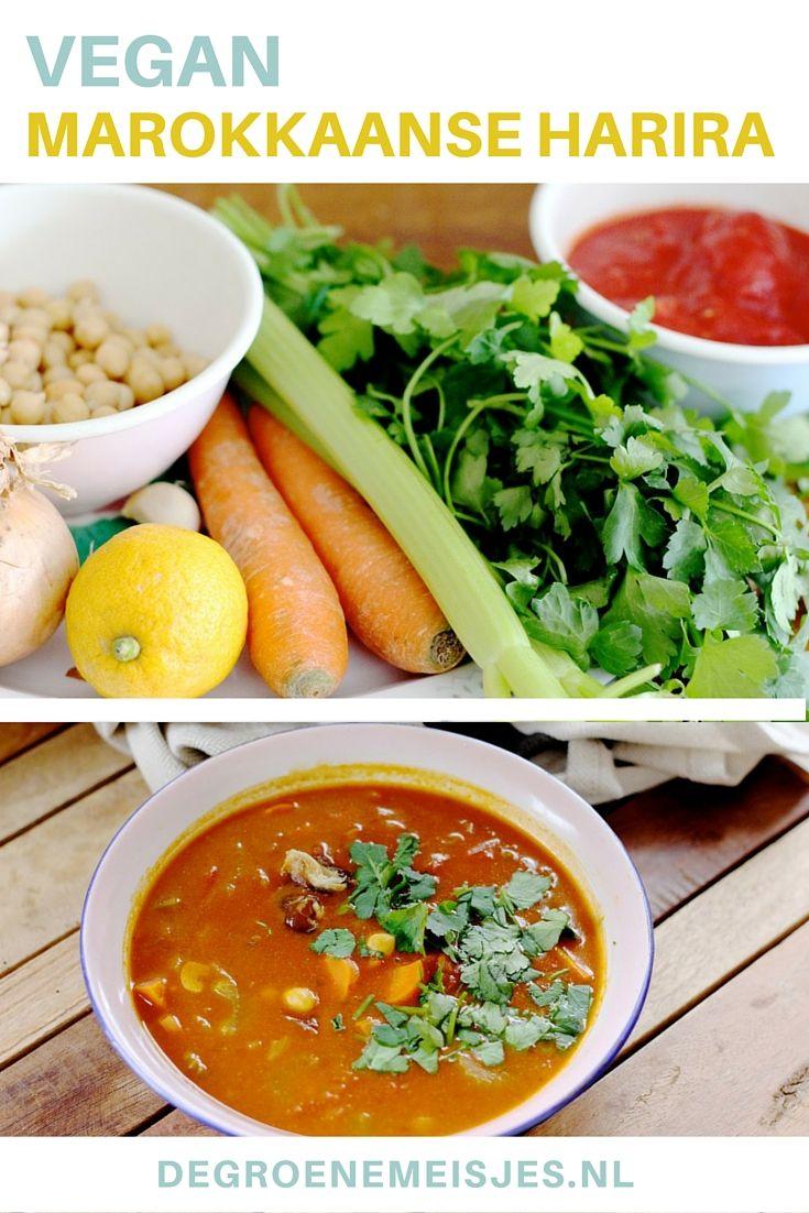 Marokkaanse Harira: makkelijke en snelle soep. En ook nog eens een super lowbudget recept. Groenten, kruiden, kikkererwten en citroen. Wij maakten de soep behoorlijk spicy, doordat wij gerookt paprikapoeder gebruikten. Lees het hele recept op de blog.