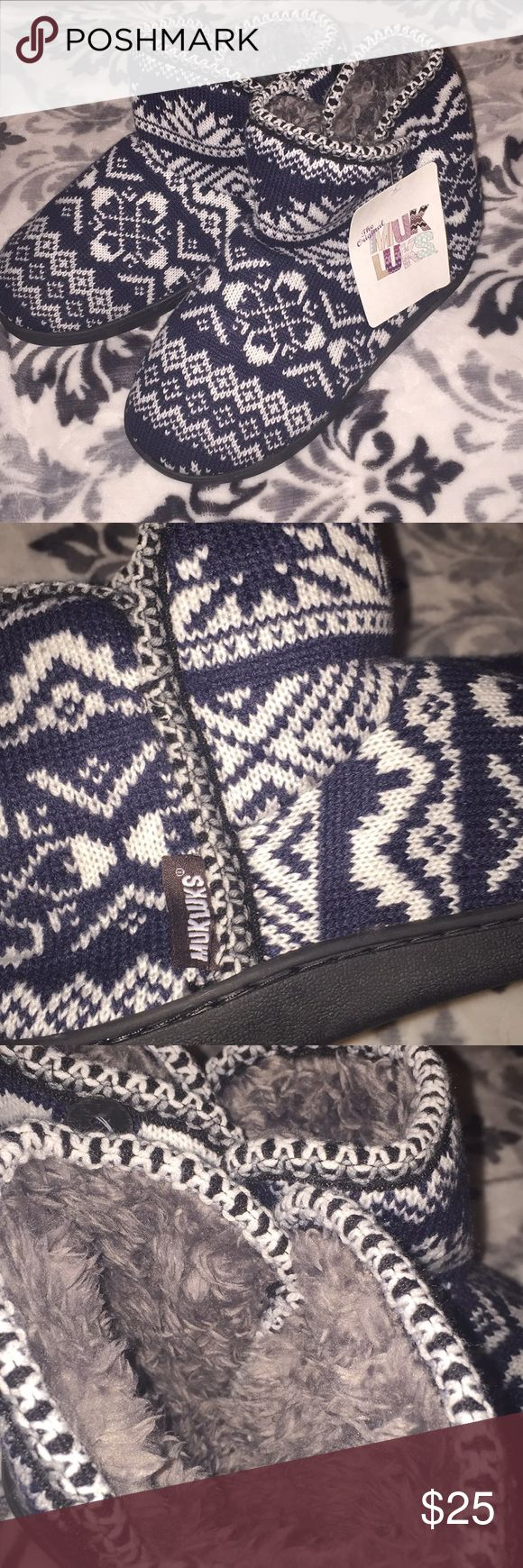 NWT Muk Luks Slipper Boots NWT. Super Warm and Comfy! Blue and White Print. Grey Furry lining. Black Rubber Sole.  Size Medium 7-8.  Reasonable Offers Accepted. Muk Luks Shoes Slippers