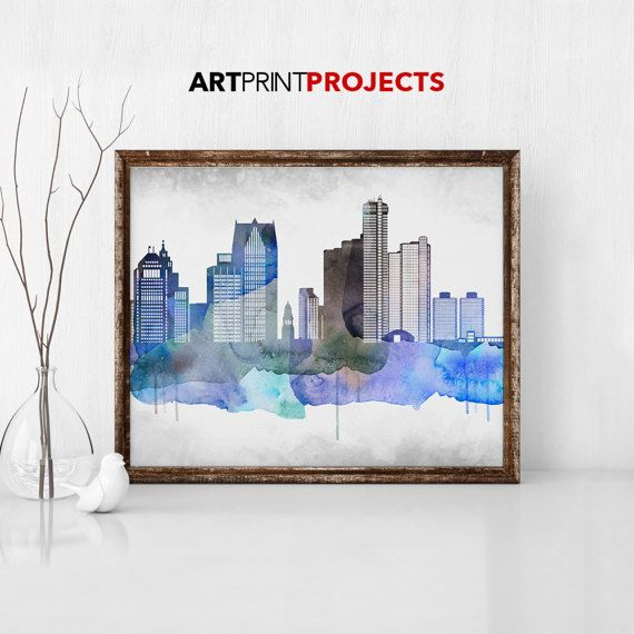 Detroit Print Detroit Art Detroit Skyline by ArtPrintProjects