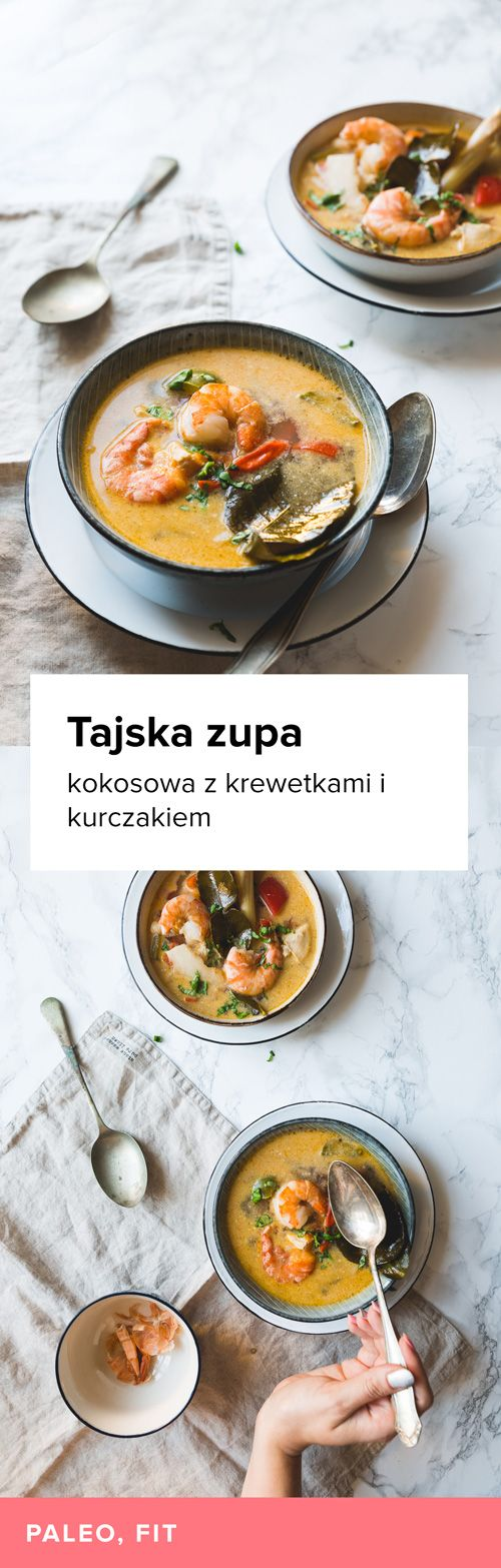 Przepis na Kokosową zupę z krewetkami i kurczakiem. Pyszna wersja tajskiej zupy Tom Yum z mlekiem kokosowym, krewetkami i kurczakiem. Słodko-ostry smak.