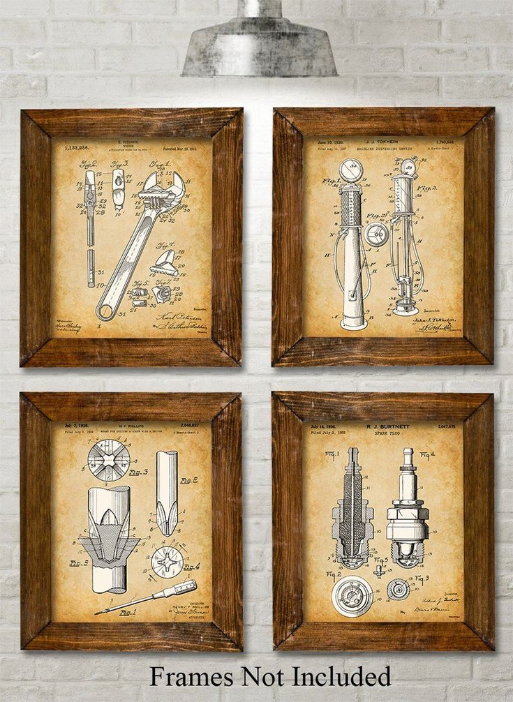 "Original Auto Mechanic Tools Patent Prints - Set of Four Photos (8x10) Unframed - Great Gift for Car Lovers/Mechanics. Bring a little whimsy to your household. These four prints show patents filed between 1915 to 1935. The original patent artwork has been reinterpreted by award winning artist Norm Lanier. * HOW FUN - These prints are guaranteed to be a great addition to any room. * READY TO FRAME - You get four 8"" x 10"" prints. 8"" x 10"" frames are super easy to buy here on Amazon or at…"