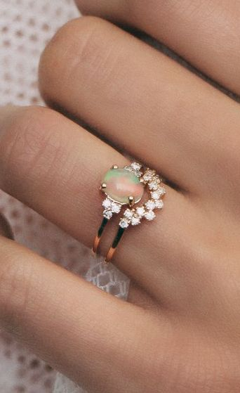 Opal & diamond rings (ethical diamonds/conflict free)