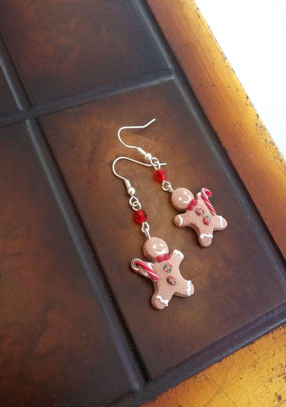 Gingerbread Man Earrings Handmade From by EvasCreationsShop