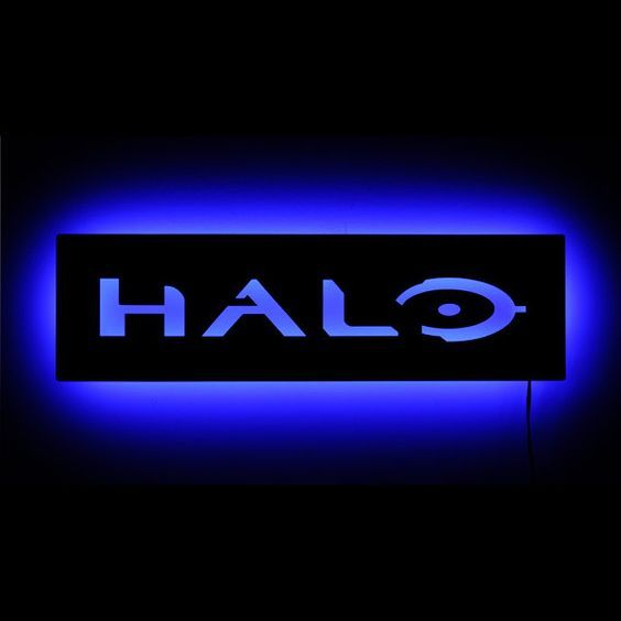 Lighted Halo Logo Sign and Wall Art - Halo Game with Master Chief - LED Illuminated Geek Decor and Gamer Decor: