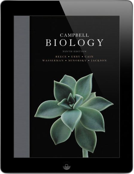 Black iPad showing the cover of the Campbell Biology textbook Biology Textbook Campbell