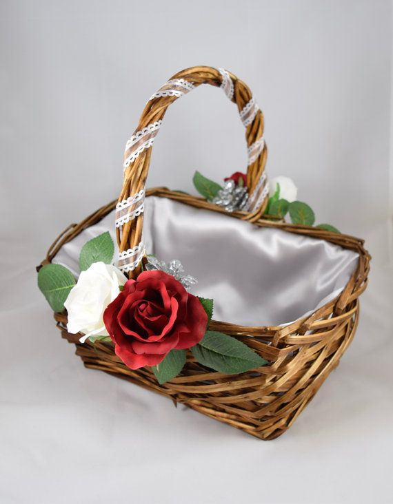 Rustic Wicker Rose Basket Silver Accents and by EnglishHomeCrafts