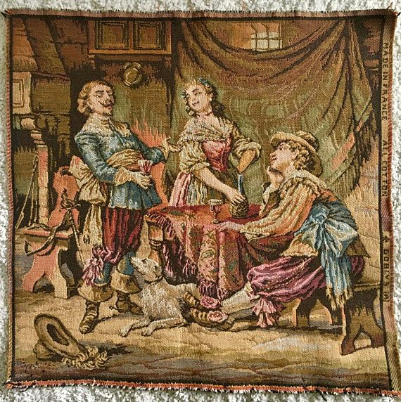 Vintage French Tapestry Gobly's Cotton French Tapestry Large Chair Seat Sized Tapestry
