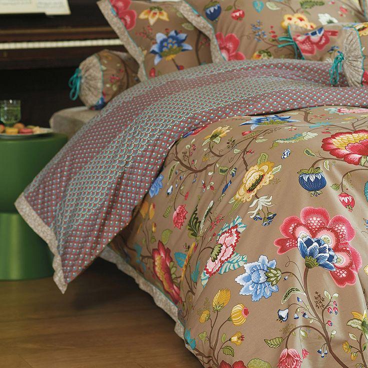 PiP Studio Floral Fantasy Double Duvet Cover Set, Khaki | ACHICA