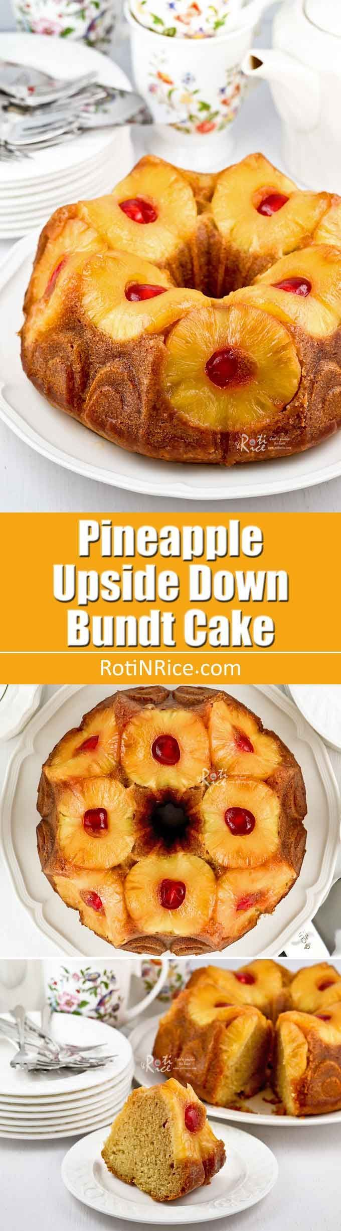 This beautiful Pineapple Upside Down Bundt Cake is a feast for the eyes and the palate. It is fragrant, moist, and perfect for any occasion.   RotiNRice.com