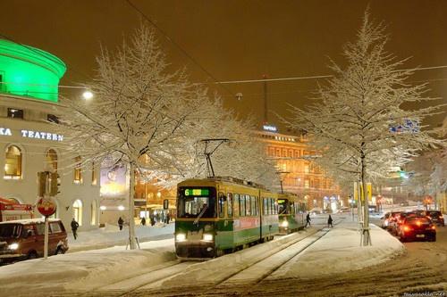 tram in wintery Helsinki