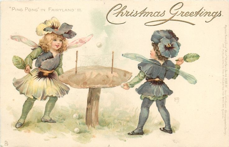 Ellen Jessie Andrews-English (1857-1907) Raphael Tuck Postcard -Ping Pong in Fairyland series 1902