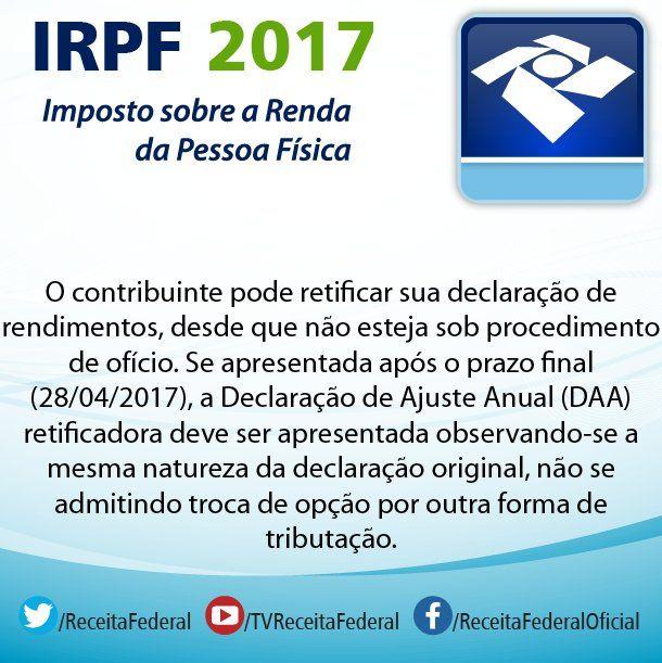 Tire suas dúvidas sobre #ImpostoDeRenda acessando o #Perguntão da #ReceitaFederal! Lembrando que o prazo para Declaração do #IR acaba 28/04! Acesse: http://idg.receita.fazenda.gov.br/interface/cidadao/irpf/2017/perguntao