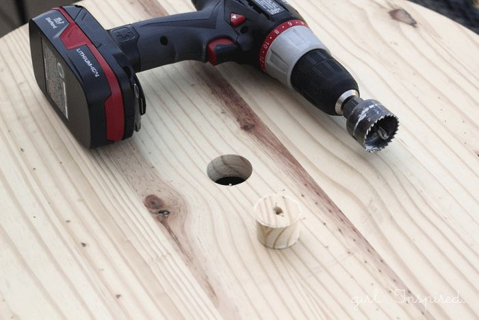 Drill a hole in the center of the round to hold an umbrella!