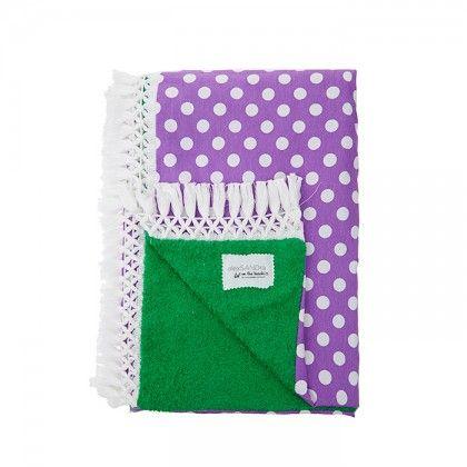 Πετσετα πρασινη με υφασμα μωβ με λευκο που και λευκή φούντα