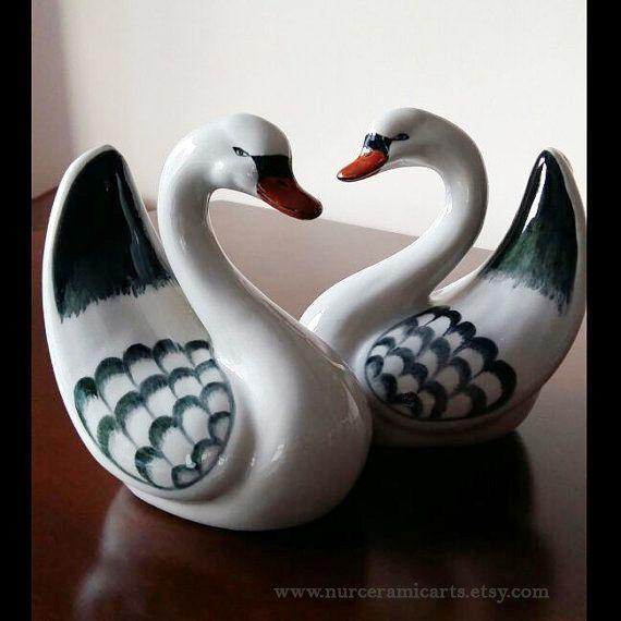 Vintage design handmade painting ceramic swan by nurceramicarts christmasgift