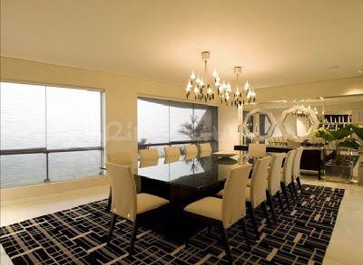 Sala moderna elegante y lujosa con amplio comedor video - Cortinas elegantes para sala ...