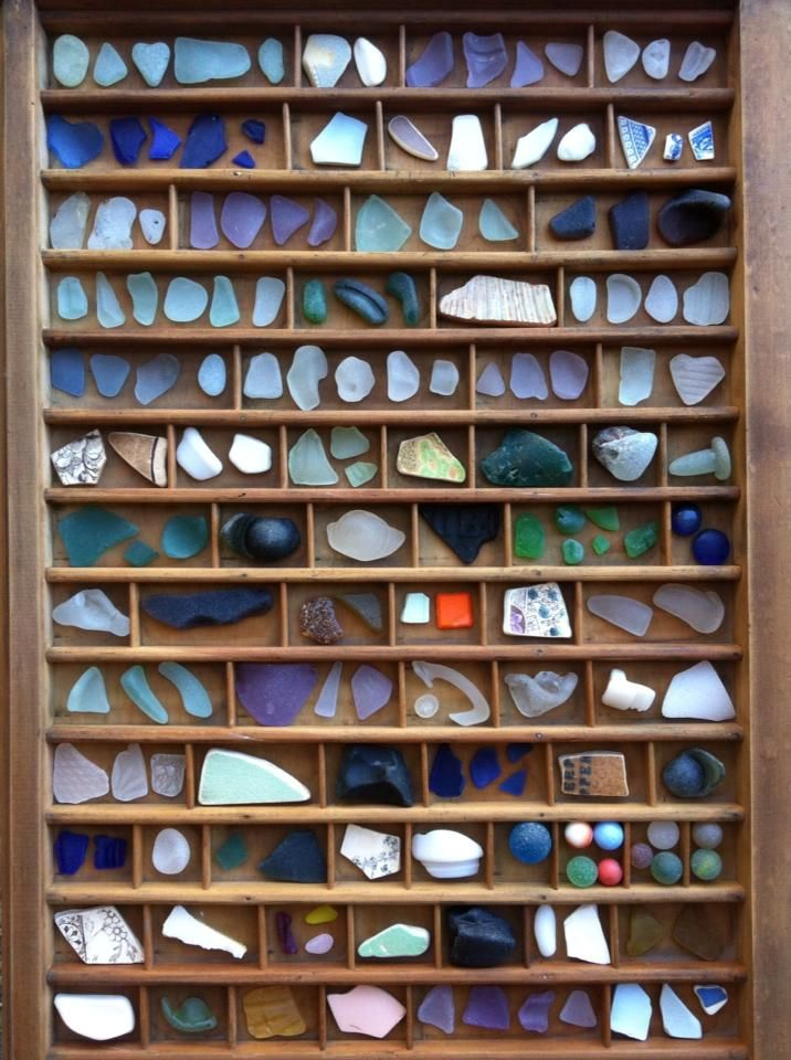 Letterpress tray sea glass specimen (what a  great idea) I would love to have this to display my prettiest pcs.