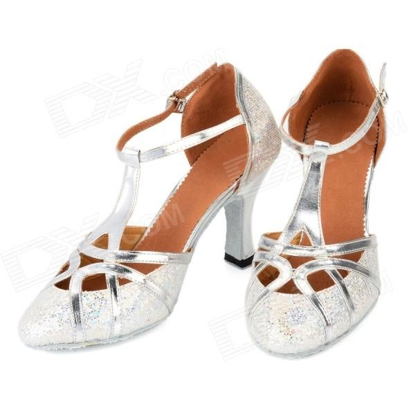 2041 Paillette Latin Dance PU High-Heeled Shoes for Women - Silver (Size-37 / Pair)