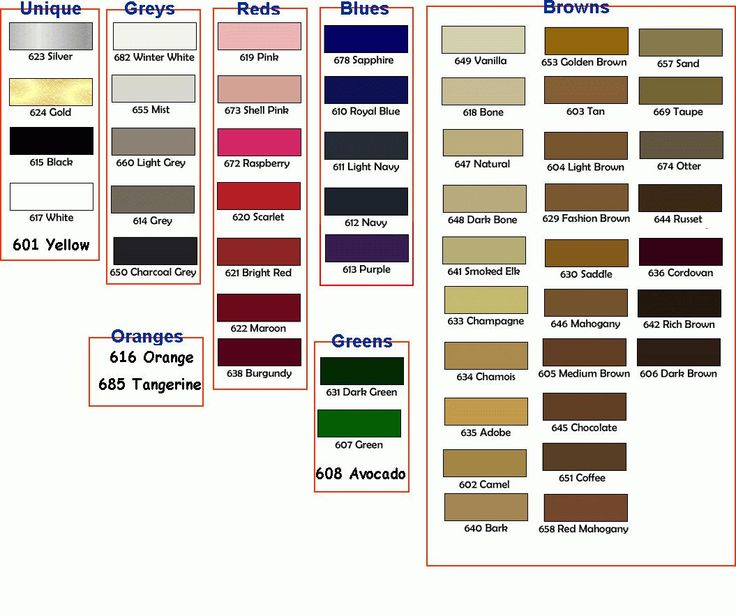 NU-LIFE Color Chart (1055×883) -- works great for recoloring ...
