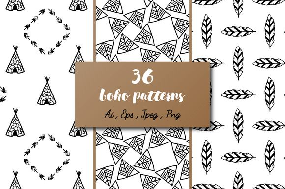 36 Boho patterns by Alla_Ri_Shop on @creativemarket