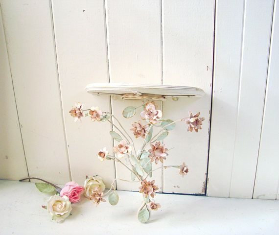 Vintage Floral Wall Shelf Pink Wall Sconce Baby Girl Nursery