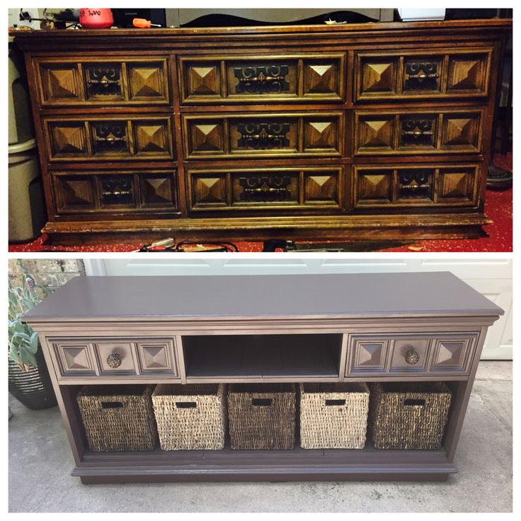 DIY: old dresser turns into a beautiful tv stand! Only real cost is the baskets