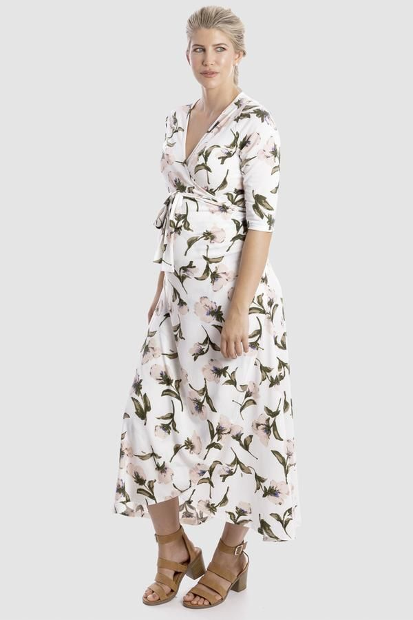 e8a3c0a36e5 Harper Maternity   Nursing Wrap Dress in White Floral in 2019 ...