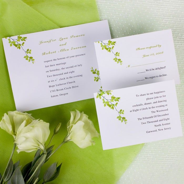 real simple unique wedding invitations%0A Green Leaves Wedding Invitations