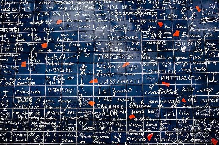 The I Love You Wall in Paris. I Love You is written in every language, even Braille. I've been here and it's beautiful <3